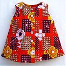 punainen mekko, kukkia&palloja 62cm