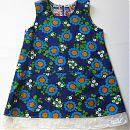 Hihaton mekko 104cm, sininen oranssit kukat